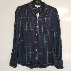 FRANCESCA'S HARPER NWT Plaid Rayon Long Sleeve